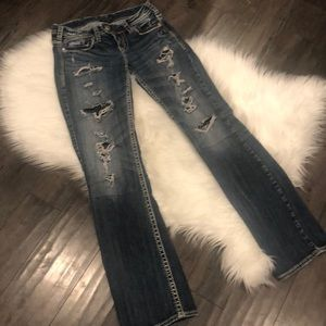 Women's Silver Jeans Tuesday with lace rips